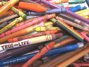 These slightly used crayons still have lots of life in them.