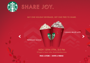 Buy one coffee and get one free today through Nov. 17 at Starbucks!