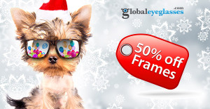 Score 50% off eyeglass frames today!
