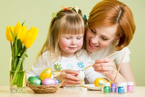 Decorating Easter eggs is a fun and frugal family activity. Via Shutterstock.