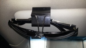 Binder clip sunglasses holder. /via Lifehacker