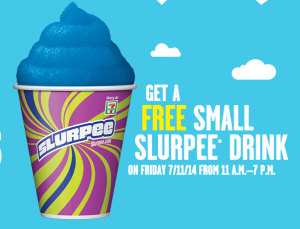 Score a FREE slurpee from 7-Eleven today. Yum!