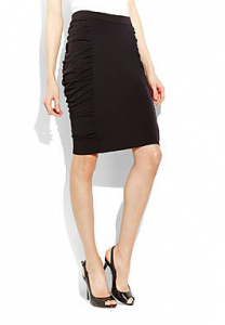 Catherine Malandrino Black Ruched Jersey Skirt on sale for $18.95 (reg. $78!).