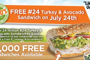 Score a FREE sandwich today! Yum!
