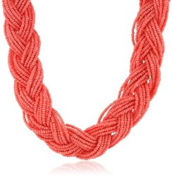 "Braided Seed Bead Coral Necklace, 16"" On sale $15.40 (reg. $44!)."