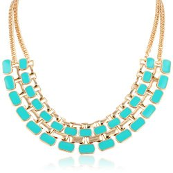 "Chain Link Statement Mint Enamel Accent Necklace, 20"" + 3"" extender. ON sale for $18.20 (reg. $44!)."