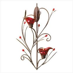 Ruby Blossom Candle Holder Wall Sconce Under $20!