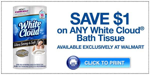 $1 Off White Cloud Bath Tissue at Walmart!