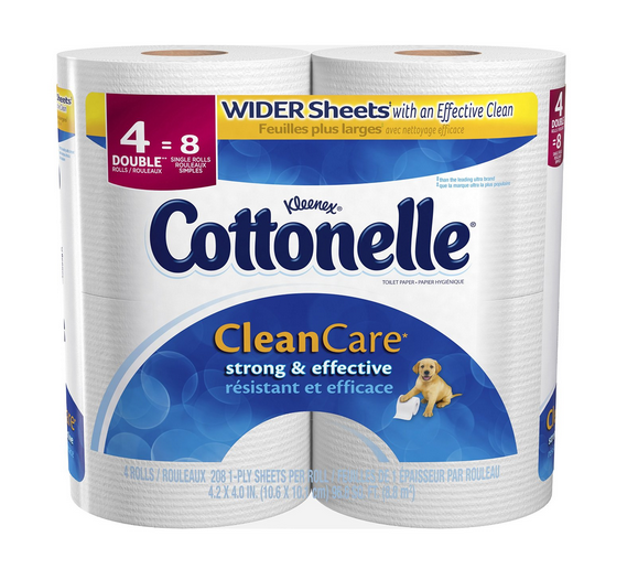 Double Roll Cottonelle Clean Care Toilet Paper  4 Count (Pack of 8) Only $15.66 – Just $0.49 Per Roll!