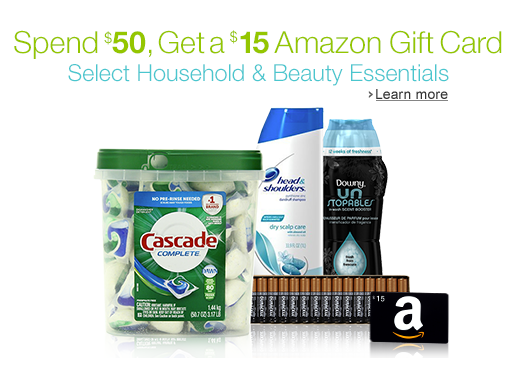 FREE $15 Amazon Gift Card with $50 Household and Beauty Essentials Purchase!