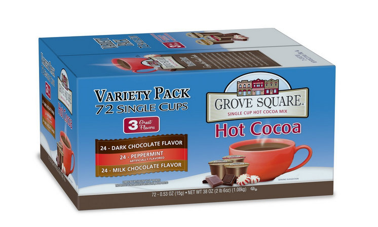 Grove Square Hot Cocoa Variety Pack 72ct K-Cups Just $22.96 = $0.32 per cup!