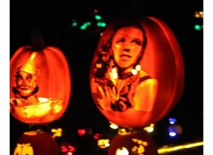 Wizard of Oz pumpkin in the dark