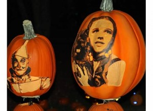 Wizard of Oz pumpkins in the light