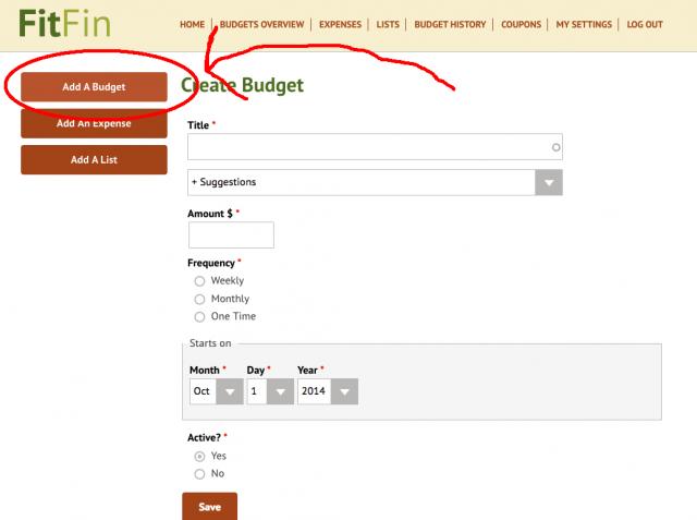 FitFin Add a Budget