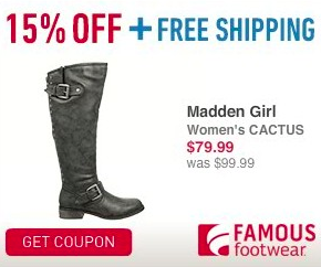 15% Off at Famous Footwear + FREE Shipping!