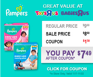 "Coupon for $1.50 Off Pampers Swaddlers Diapers at Babies ""R"" Us!"
