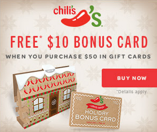 FREE $10 Chili's Gift Card with Purchase!