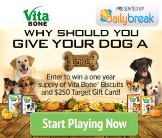 Vita Bones Giveaway:  Win a Year Supply of Vita Bone Biscuits, a Dog Blanket, and $250 Target Gift Card!