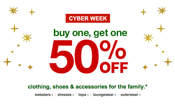 Target BOGO 50% Off Clothing, Shoes, Watches: Cyber Monday Sales