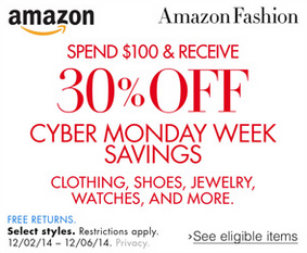 $30 Off $100 Amazon Fashion Purchase!