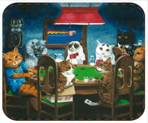 Internet cats playing poker mouse pad