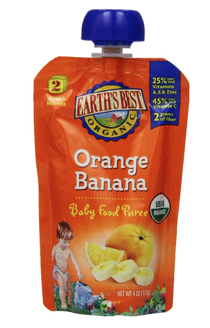 Highly Rated Pack of 12 Earth's Best Organic Stage 2 Orange & Banana Pouches Only $6.34!