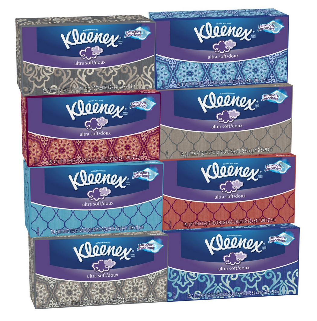 Pack of 8 Kleenex Ultra Soft Tissues 120 ct. Only $10.15 Shipped (Just $1.26 Per Box!)