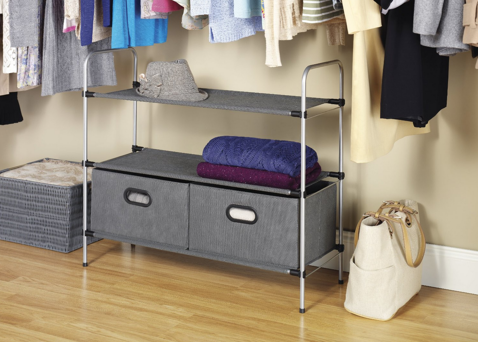 Whitmor Closet Organizer 3 Tier Shelves with 2 Collapsible Drawers Only $19.63 (Reg. $39.49!) – Best Price!