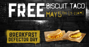 Score a FREE breakfast taco at Taco Bell today. Yum!