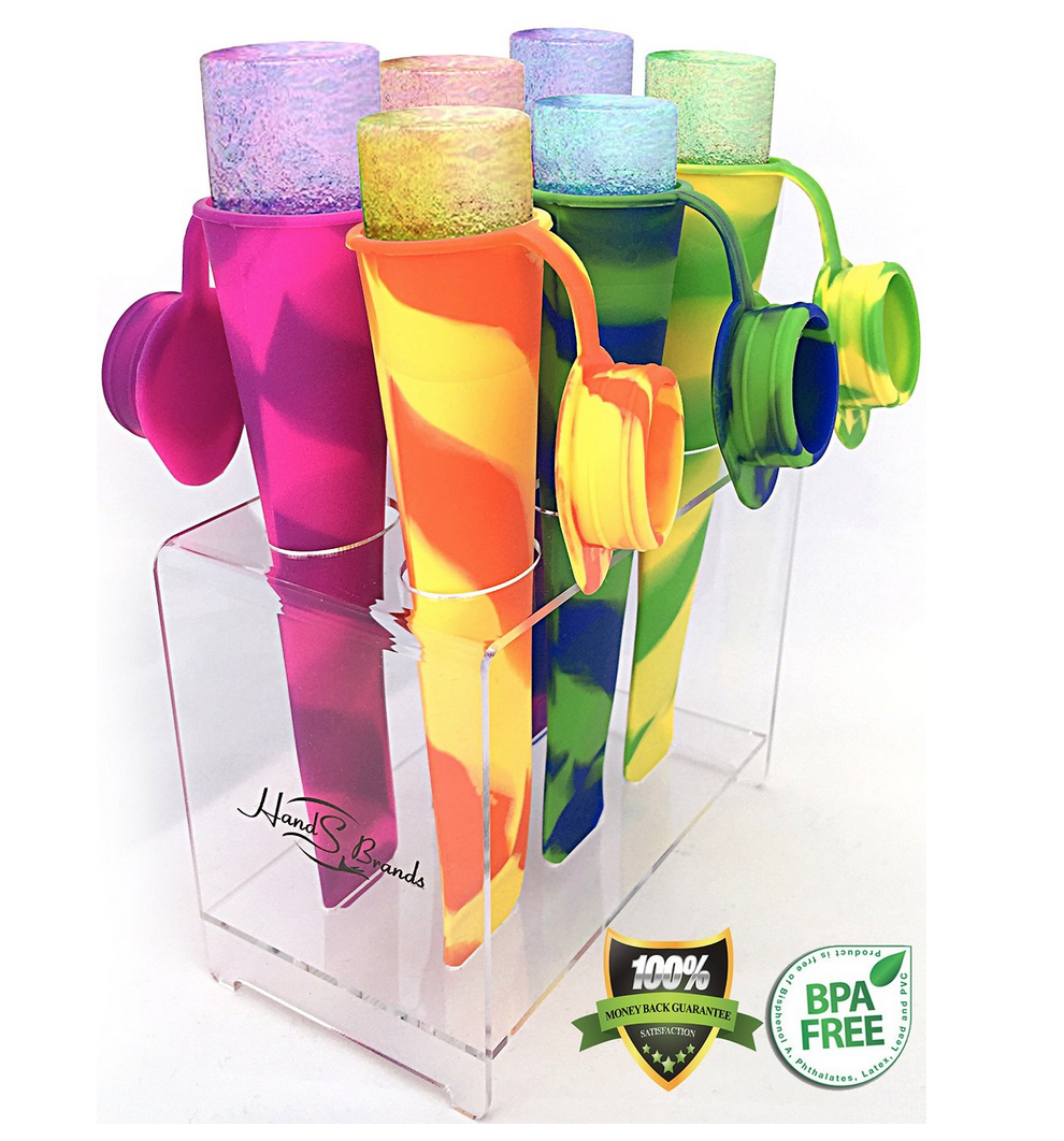 Set of Six Sillicone Ice Pop Molds with Attached Cap 52% Off!