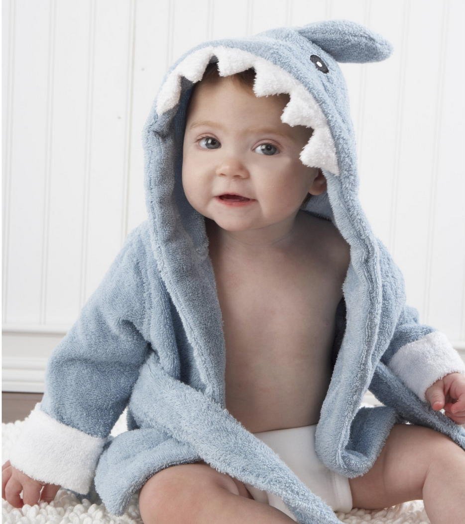"""Baby Aspen Baby """"Let the Fin Begin"""" Blue Terry Shark Robe Only $19.21"""