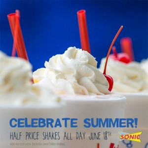 Score 1/2 price shakes all day at Sonic!