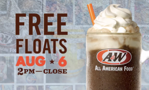 Score a FREE root beer float today. Yum!