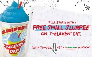 Grab a FREE small slurpee at 7 Eleven today! Yum!