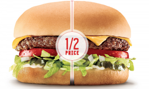 Grab a 1/2 price cheeseburger at Sonic today. Yum!