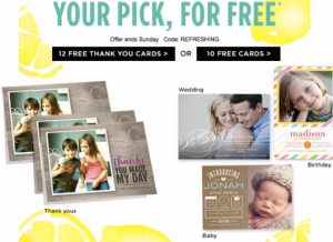 Score 12 FREE Thank You Cards from Shutterfly today.
