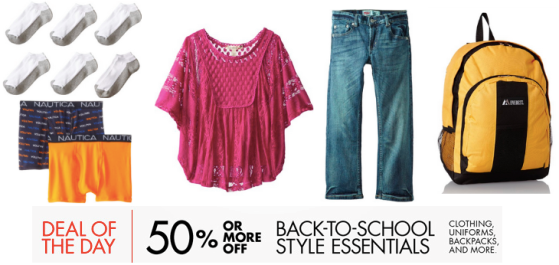TODAY ONLY! 50% Or More Off Back-to-School Style Essentials – Clothing, Backpacks and More!