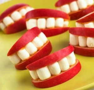 "Apple and marshmallow ""teeth"""