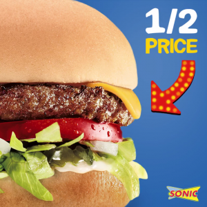 Get 1/2 price cheeseburgers at Sonic today!