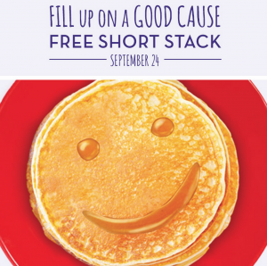 Get a FREE short stack of pancakes today. Yum!