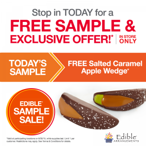 Score a FREE salted caramel apple wedge sample today. Yum!
