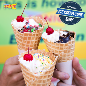 Snag 1/2 price ice cream cones at Sonic today. Yum!