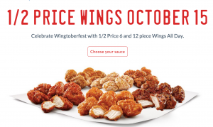 Score 1/2 price wings at Sonic Drive-In today!