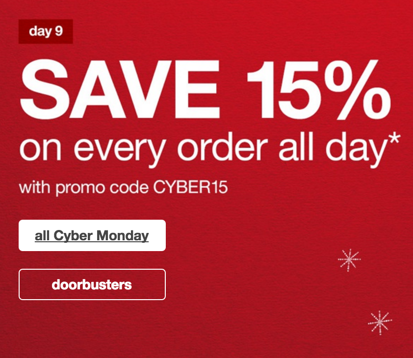 Target: 15% Off All Orders + FREE Shipping (Includes Sale Items!)