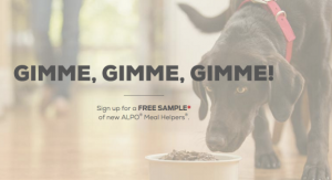 Snag a FREE Purina Alpo Meal Helpers dog food sample today!