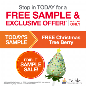 Snag a FREE Christmas Tree Berry at Edible Arrangements today.
