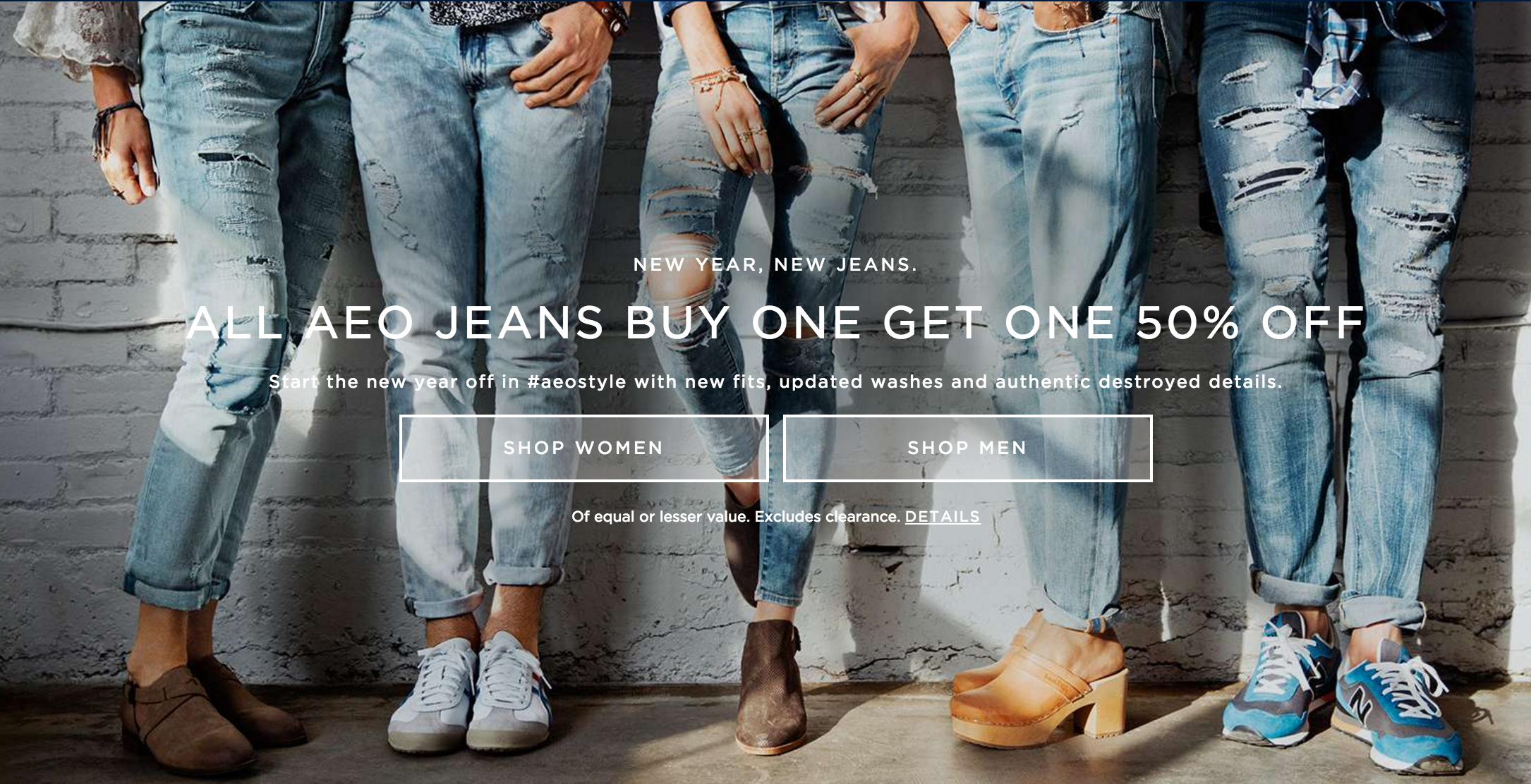 abaa82c0385b4 American Eagle Outfitters  BOGO 50% Off ALL Jeans!