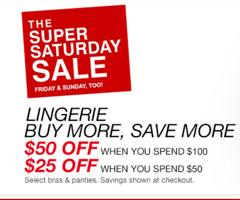 Macy's: $25 off Lingerie Orders $50+ & $50 Off Orders $100+