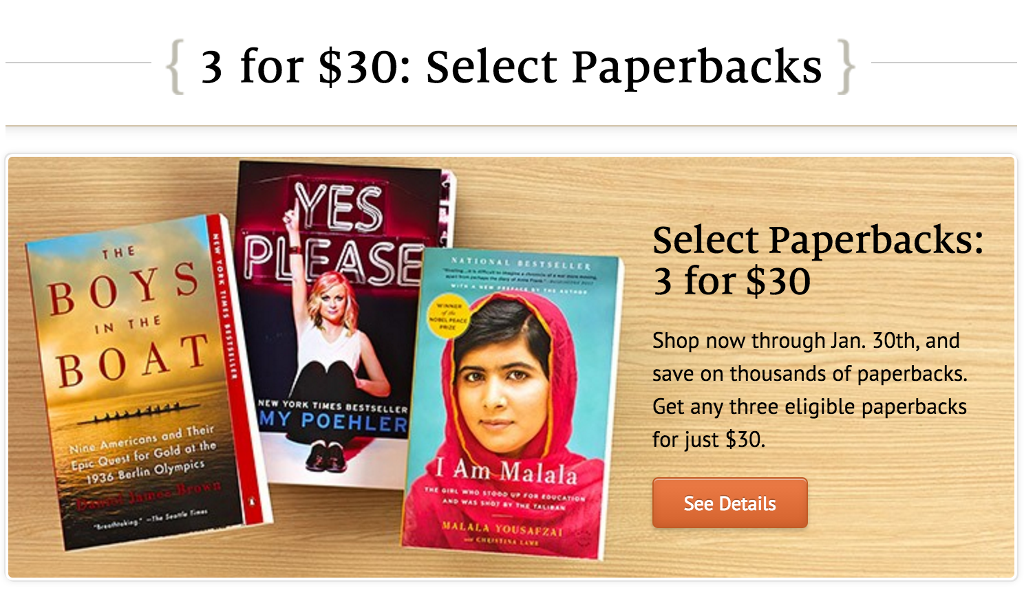 Barnes & Noble: 3 for $30 Paperbacks!