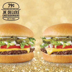 Snag Jr. Deluxe Cheeseburgers for just 79¢ at Sonic Drive-In today. Yum!